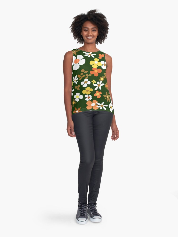 Alternate view of Floral Riot on Green Sleeveless Top
