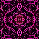 Pink Black Bohemian Ethnic Mandala Arabesque Pattern by clipsocallipso