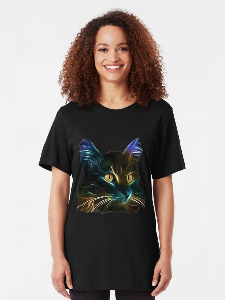 Vista alternativa de Camiseta ajustada Cat Neon