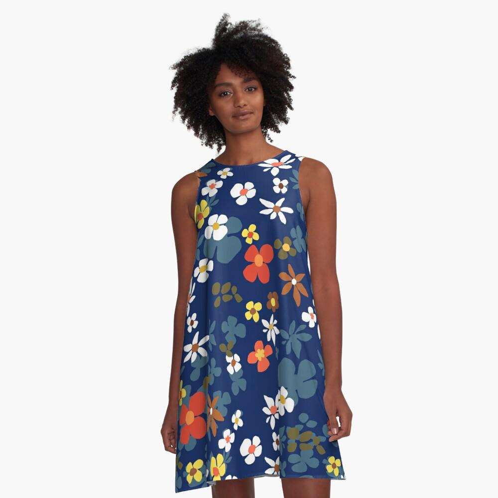New Floral Blue A-Line Dress