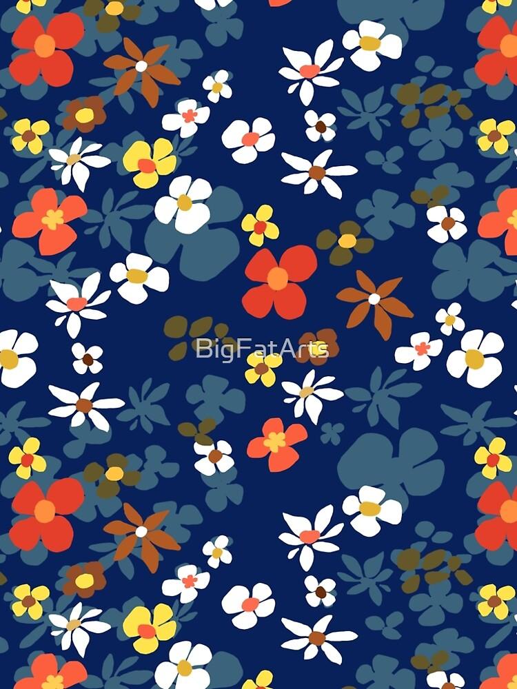 New Floral Blue by BigFatArts