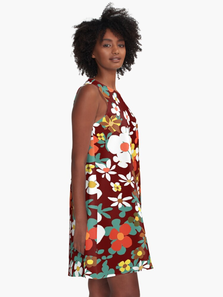 Alternate view of New Floral Red A-Line Dress