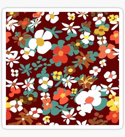 New Floral Red Glossy Sticker