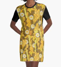 Cacti Camouflage, Floral Pattern, Golden Yellow Husk Brown Graphic T-Shirt Dress