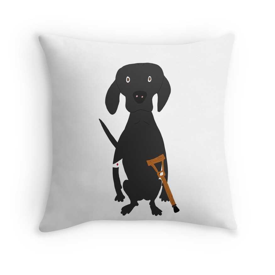 Wounded Lab Black Labrador Dog Hand-painted Pet Drawing