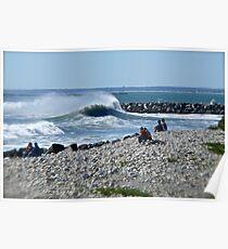 Hurricane Igor Sends Ocean Waves - Point Judith - Rhode Island Poster
