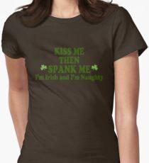 """Funny St Patrick's Day """"Kiss Me Then Spank Me - I'm Irish & I'm Naughty"""" T-Shirt"""