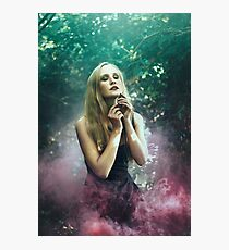 Girl in purle smoke - Photographic Print