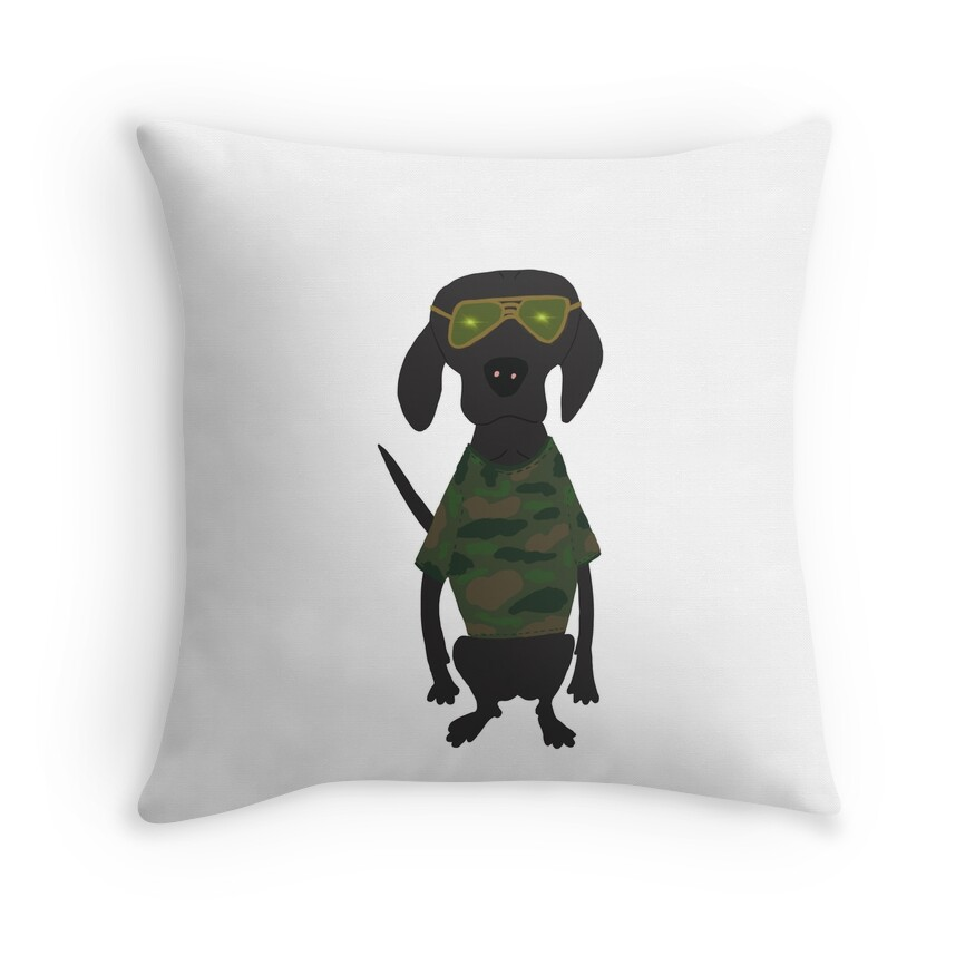 Camo Lab Hunting Black Labrador Dog Hand-painted Pet Drawing