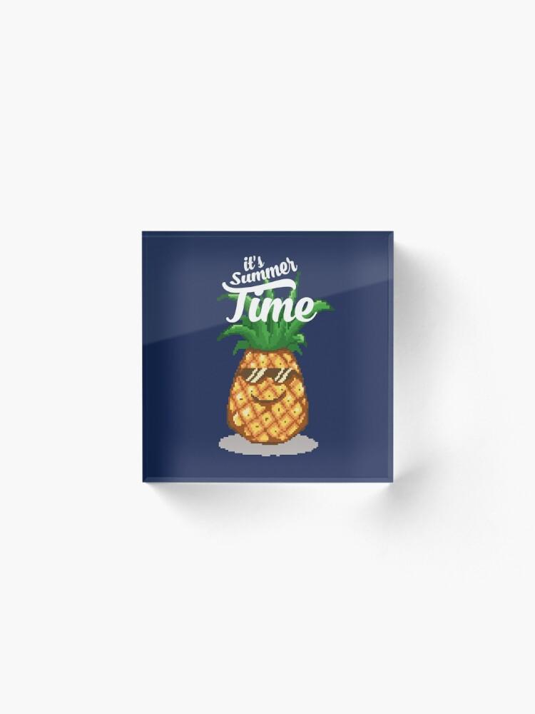 Summer Time Pineapple Pixel Art Acrylic Block
