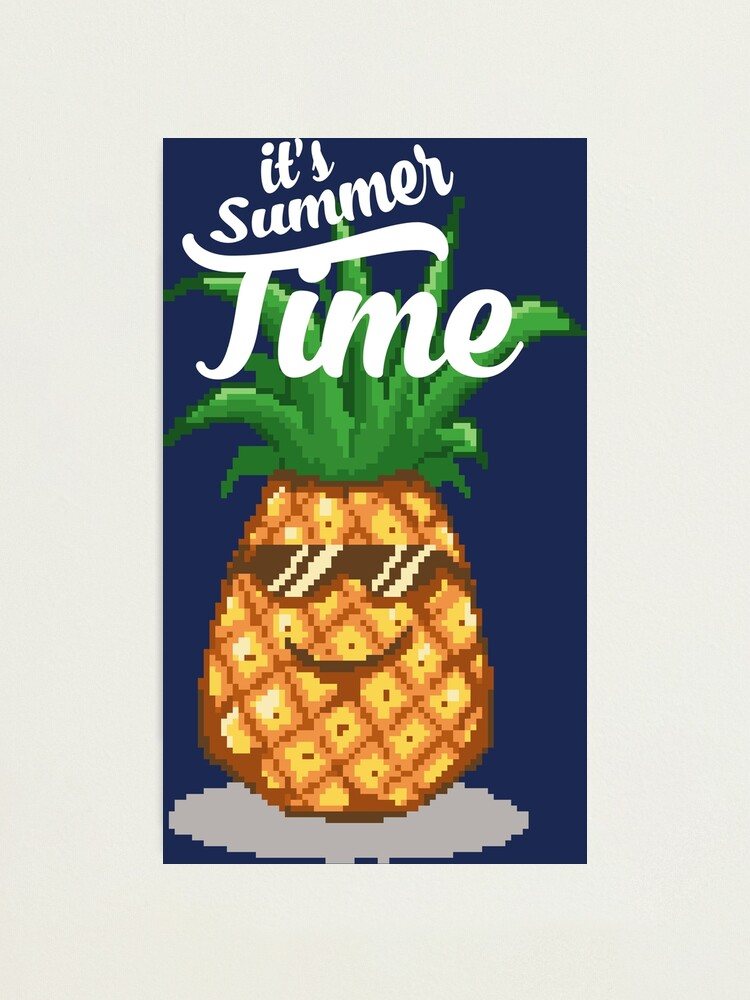 Summer Time Pineapple Pixel Art Photographic Print
