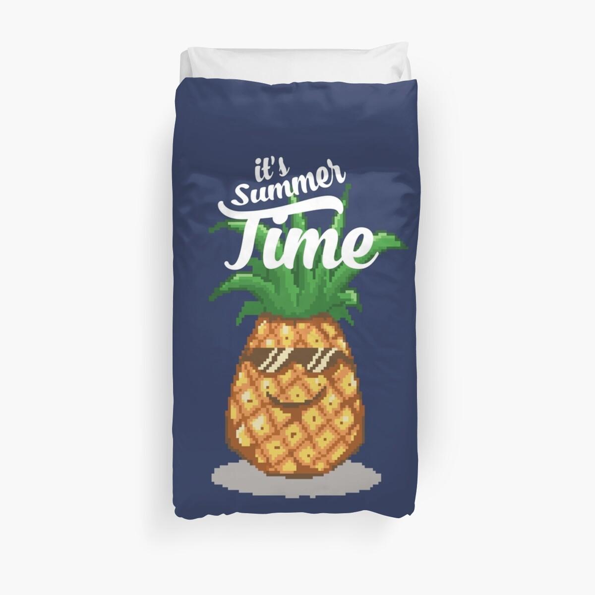 Summer Time Pineapple Pixel Art Duvet Cover By Rebus 28