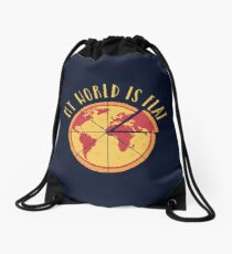 My World Is Flat Drawstring Bag