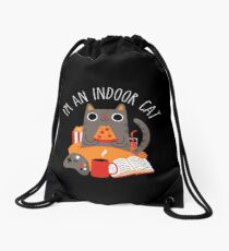 Indoor Cat Drawstring Bag