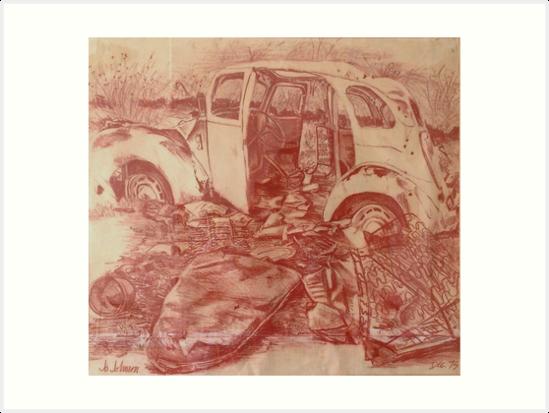 Old Ford Prefect 1940's Car  by jojohnsonart