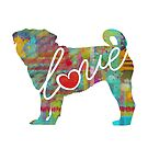 Pug Love - A Bright and Colorful Watercolor Style Gift by traciwithani