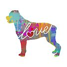Rottweiler / Rottie Love - A Bright and Colorful Watercolor Style Gift by traciwithani