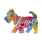 Scottish Terrier (Scottie) Love - A Bright and Colorful Watercolor Style Gift by traciwithani
