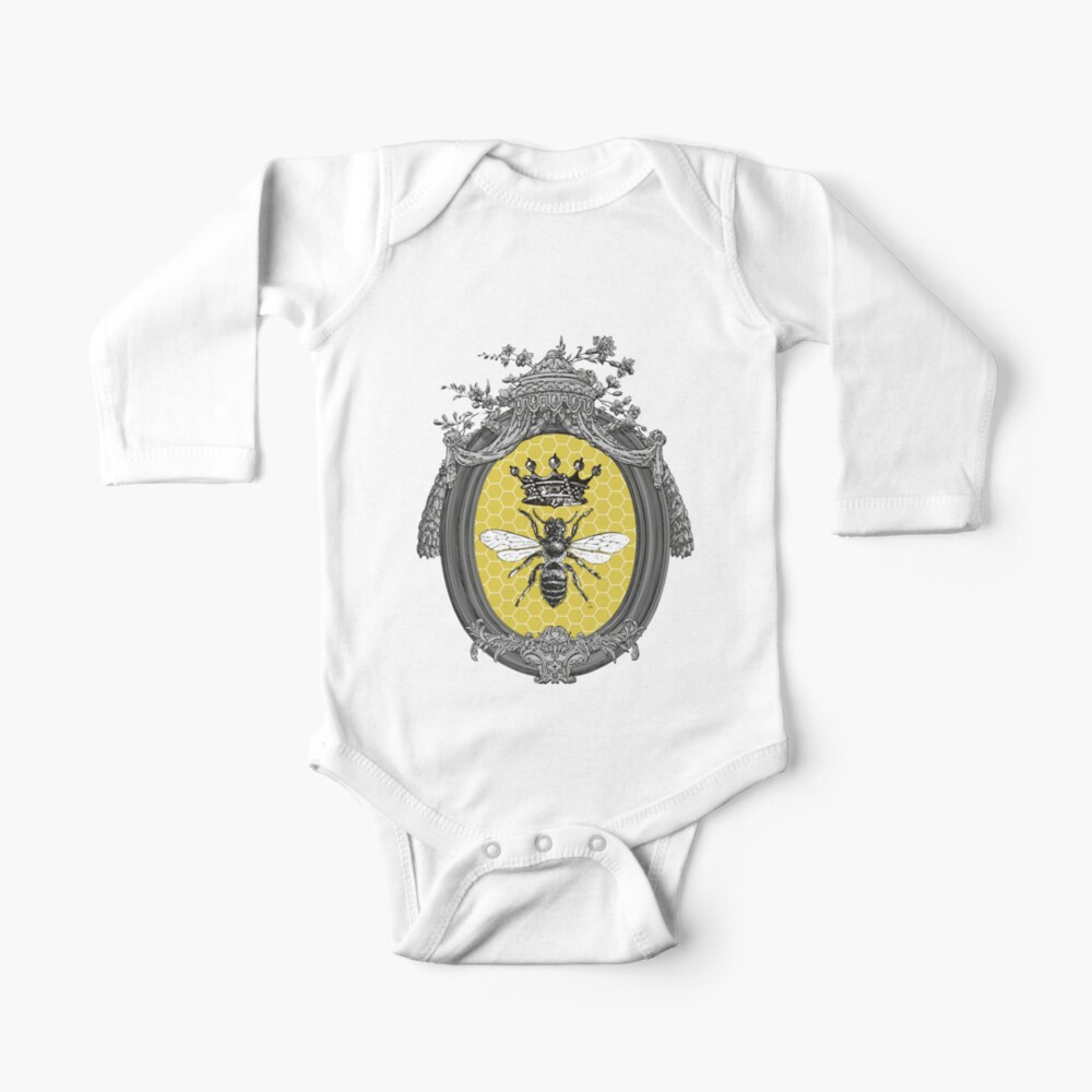 Queen Bee | Vintage Honey Bees | Honeycomb Patterns |  Long Sleeve Baby One-Piece