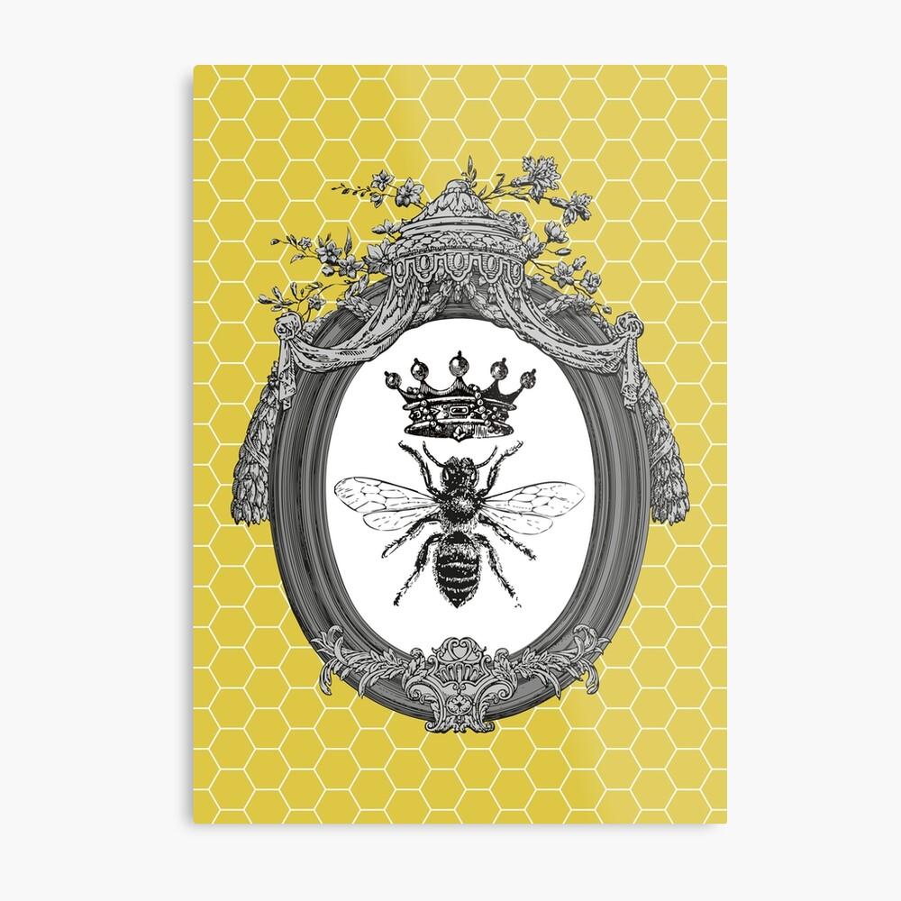Queen Bee | Vintage Honey Bees | Honeycomb Patterns |  Metal Print