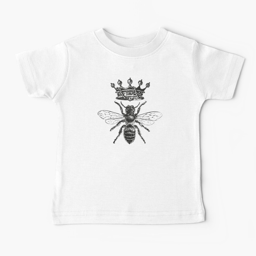 Queen Bee   Vintage Honey Bees   Black and White    Baby T-Shirt