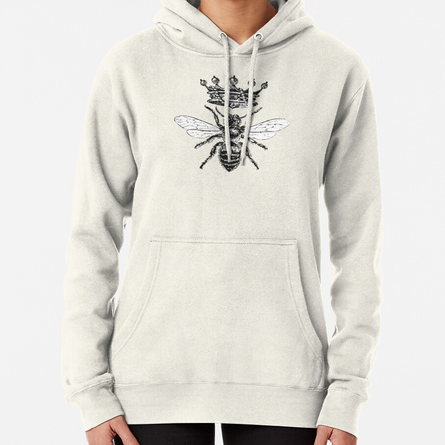 Queen Bee | Vintage Honey Bees | Black and White |  Pullover Hoodie
