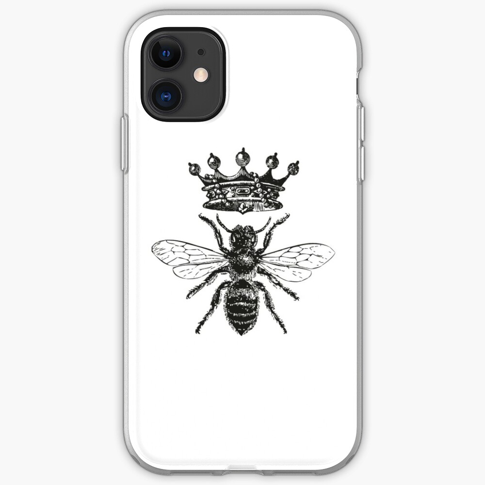 Queen Bee | Vintage Honey Bees | Black and White |  iPhone Soft Case
