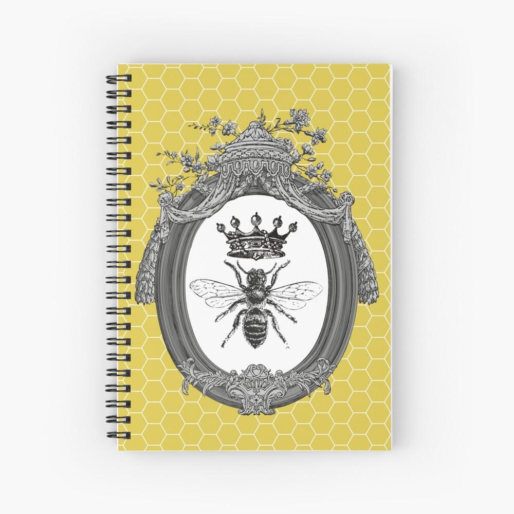 Queen Bee | Vintage Honey Bees | Honeycomb Patterns |  Spiral Notebook