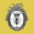 Queen Bee   Vintage Honey Bees   Honeycomb Patterns    by EclecticAtHeART