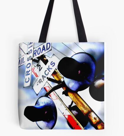 railroad crossing gates Tote Bag