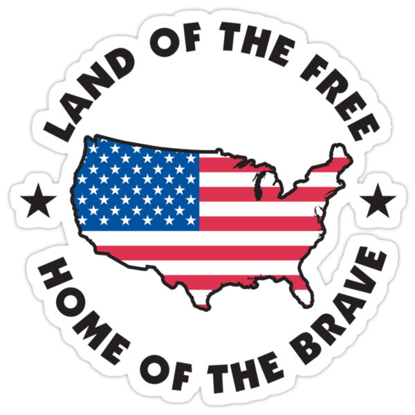 Land of the free home of the brave stickers by holidayt for How to get free land in usa