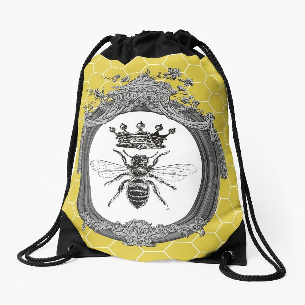 Queen Bee | Vintage Honey Bees | Honeycomb Patterns |  Drawstring Bag