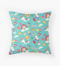 Tween Girl Icons Rainbows Emojis Unicorns Roller Skates Throw Pillow