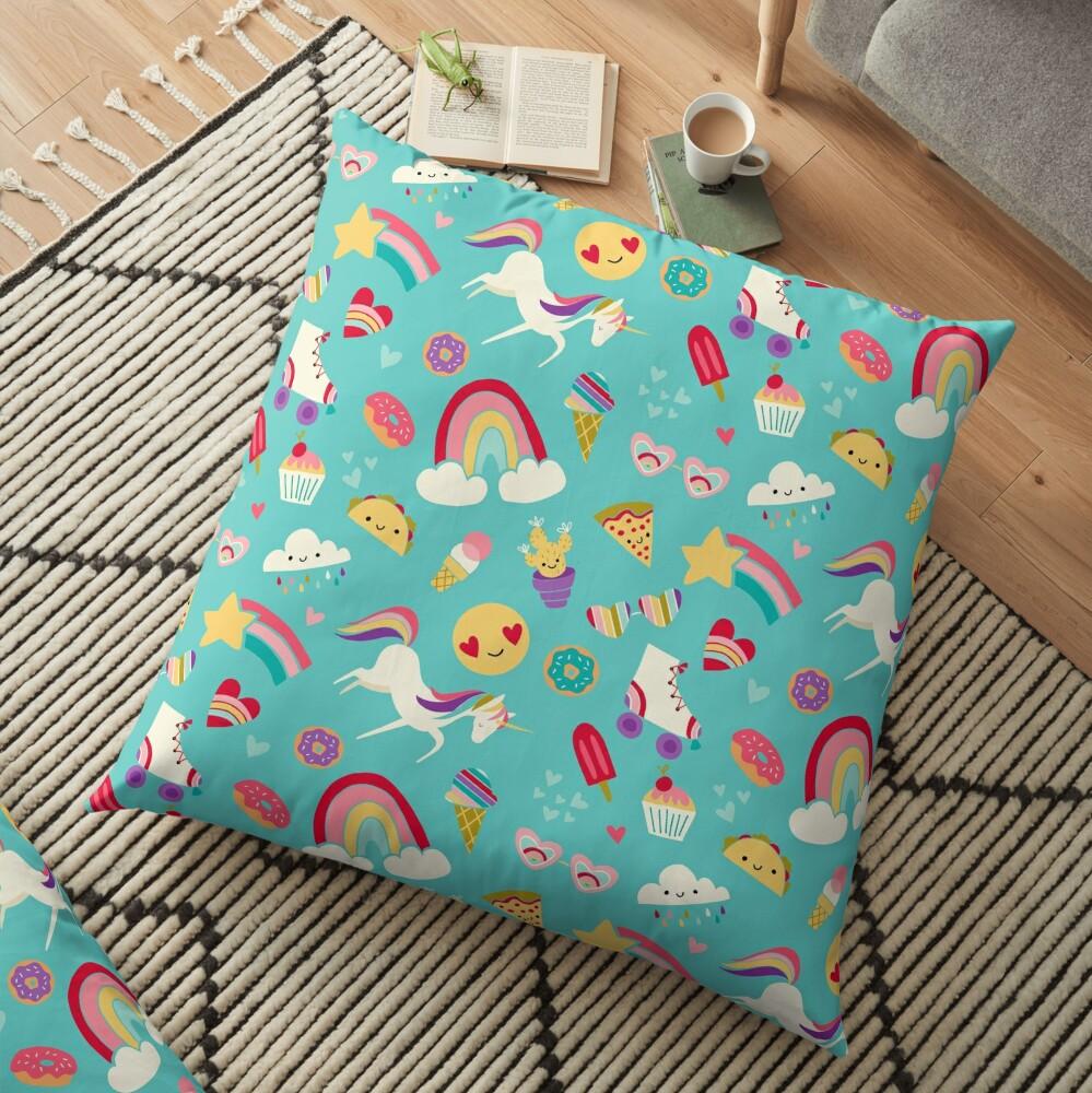 Tween Girl Icons Rainbows Emojis Unicorns Roller Skates Floor Pillow