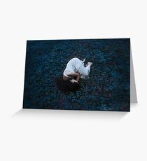 Sleeping girl in forest Greeting Card
