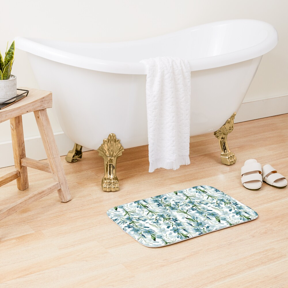 Blue branches Bath Mat