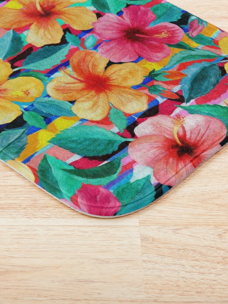 Alternate view of OTT Maximalist Hawaiian Hibiscus Floral with Stripes Bath Mat