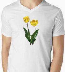 Backlit Yellow Tulips Men's V-Neck T-Shirt
