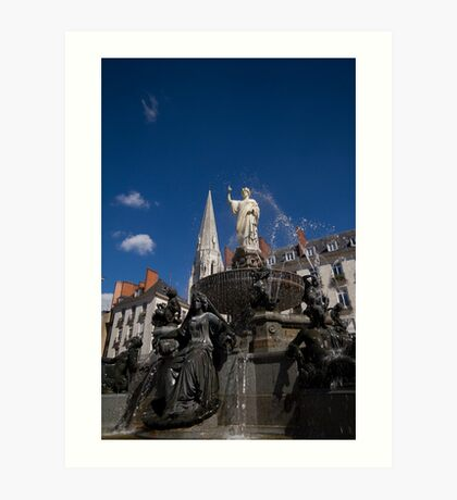 Fountain on Place Royale Art Print