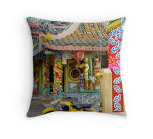 Temple And Yellow Bike Throw Pillow