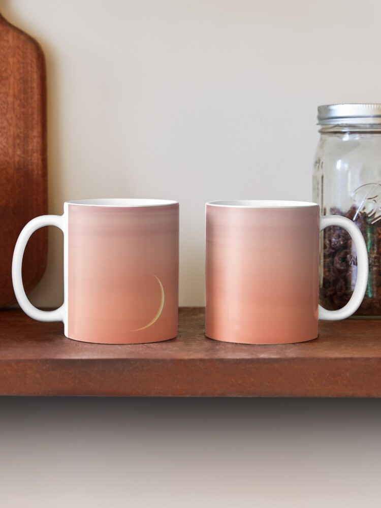 Alternate view of Moon crescent and sunset sky Mug