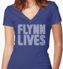 FLYNN LIVES Women's Fitted V-Neck T-Shirt