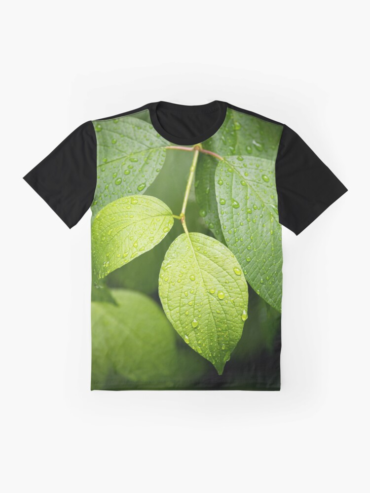 Alternate view of Water drops on green leaves after rain Graphic T-Shirt