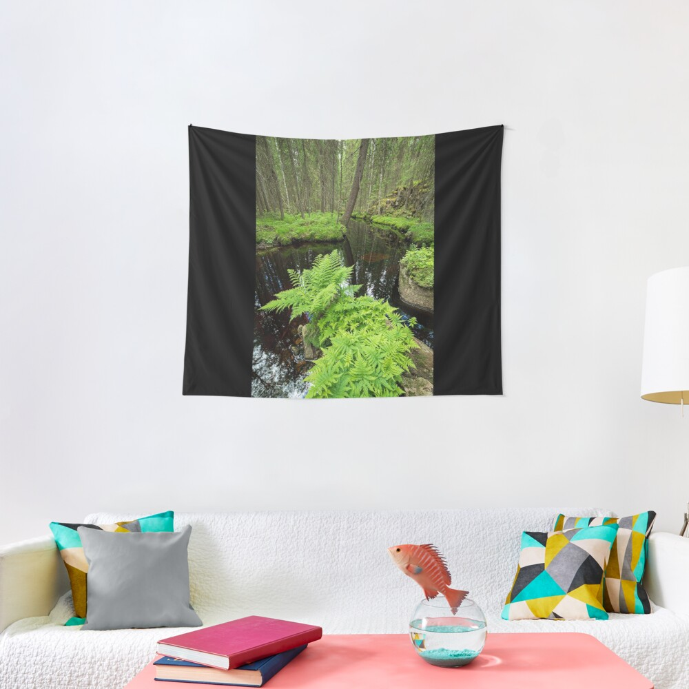 Fern in the forest creek landscape Tapestry