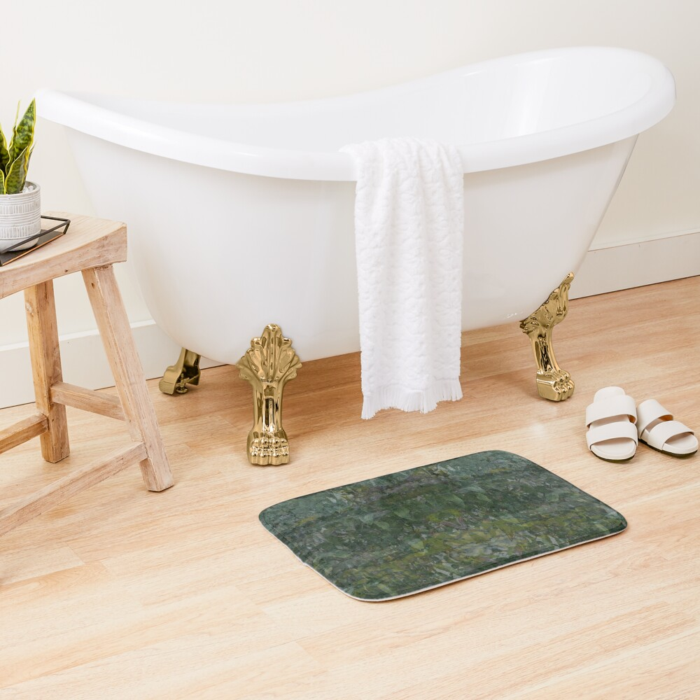 Forest and Rock Montage fabric design Bath Mat