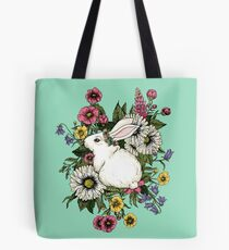Rabbit in Flowers Tote Bag