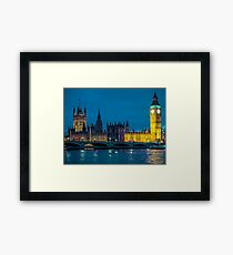 Big Ben Houses of Parliament and Westminster Bridge London at night. Framed Print