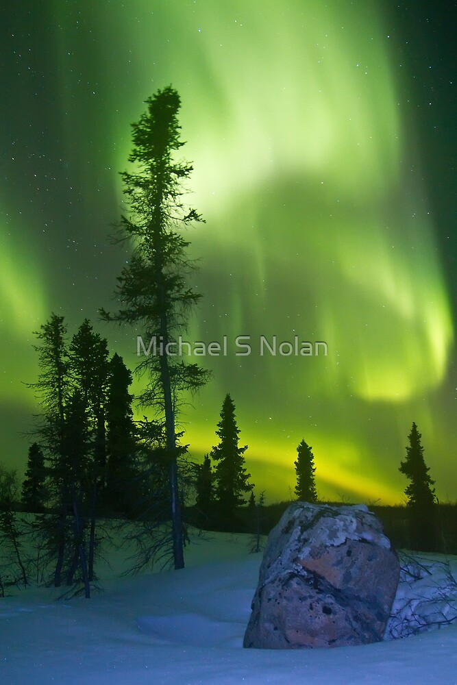 Green curtains over Yellowknife by Michael S Nolan