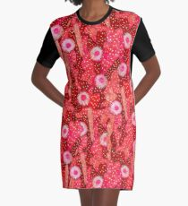 Cacti Camouflage, Floral Pattern, Strawberry Crimson Red Graphic T-Shirt Dress