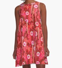 Cacti Camouflage, Floral Pattern, Strawberry Crimson Red A-Line Dress